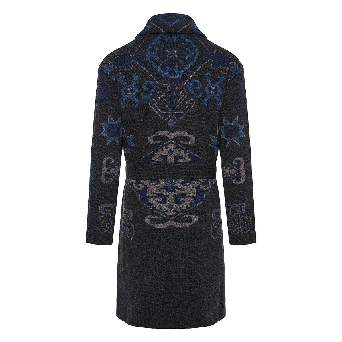 Oversized jacquard wool cardigan
