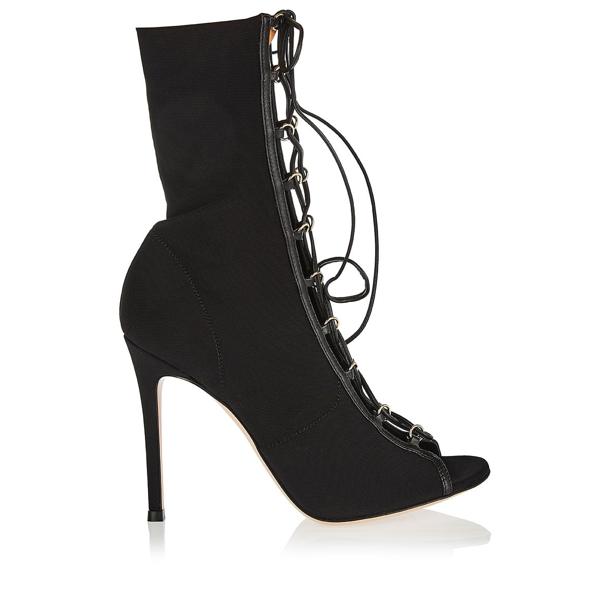 Peep-toe lace-up ankle boots