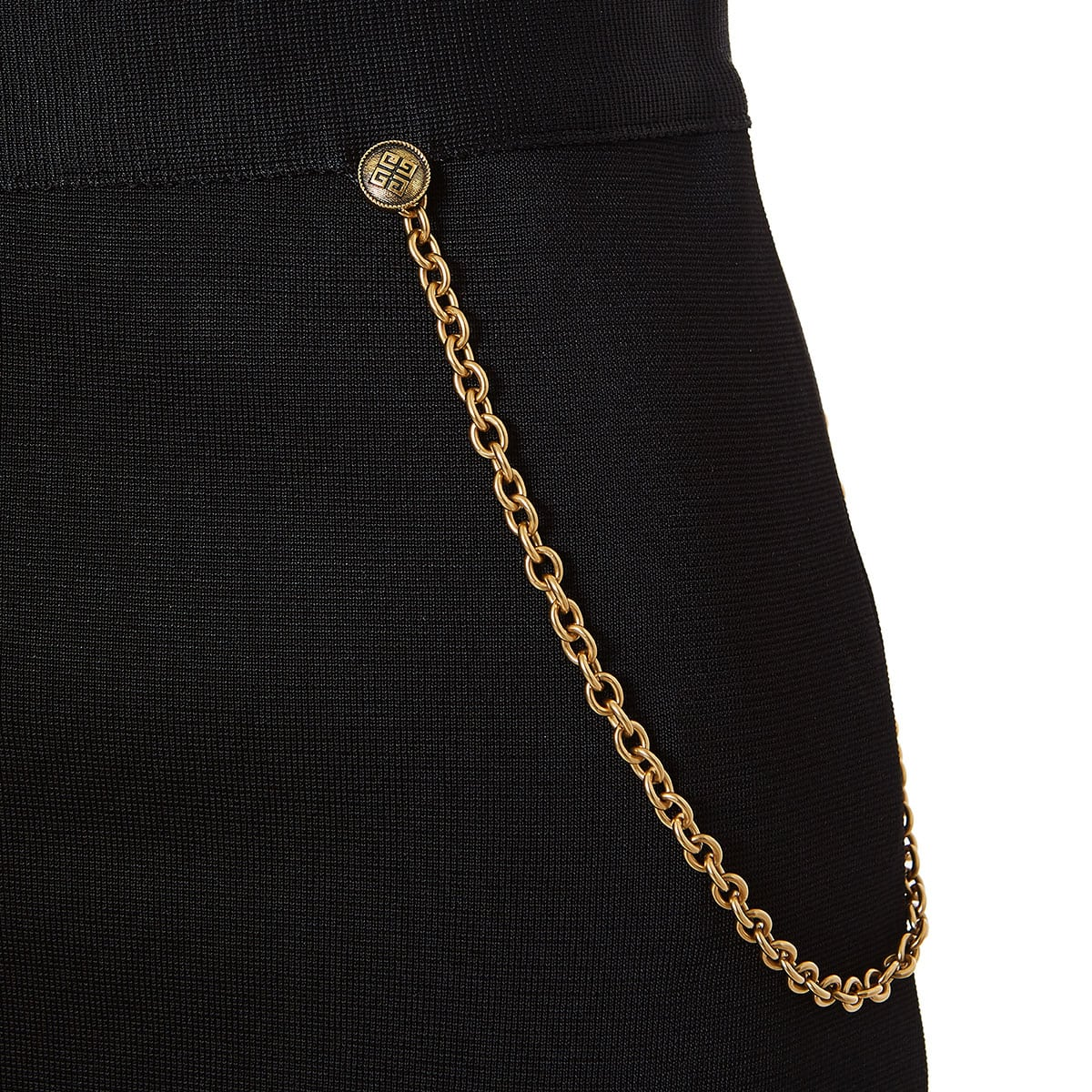 Chain-embellished pencil skirt