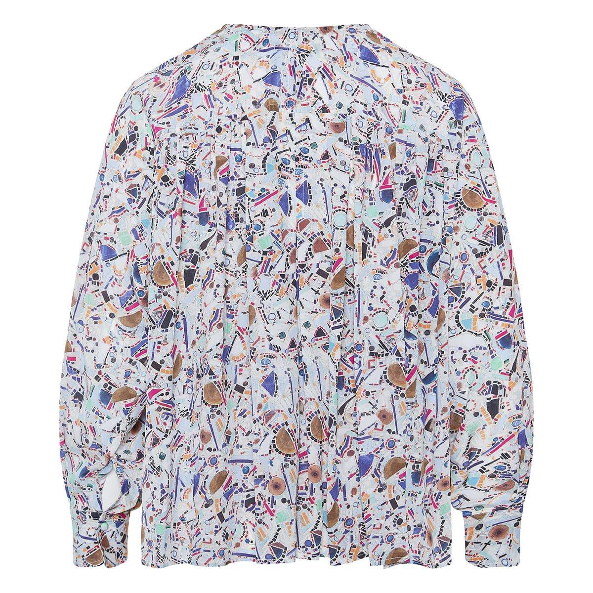 Amba gathered printed blouse