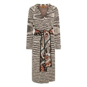 Abstract print long belted cardigan