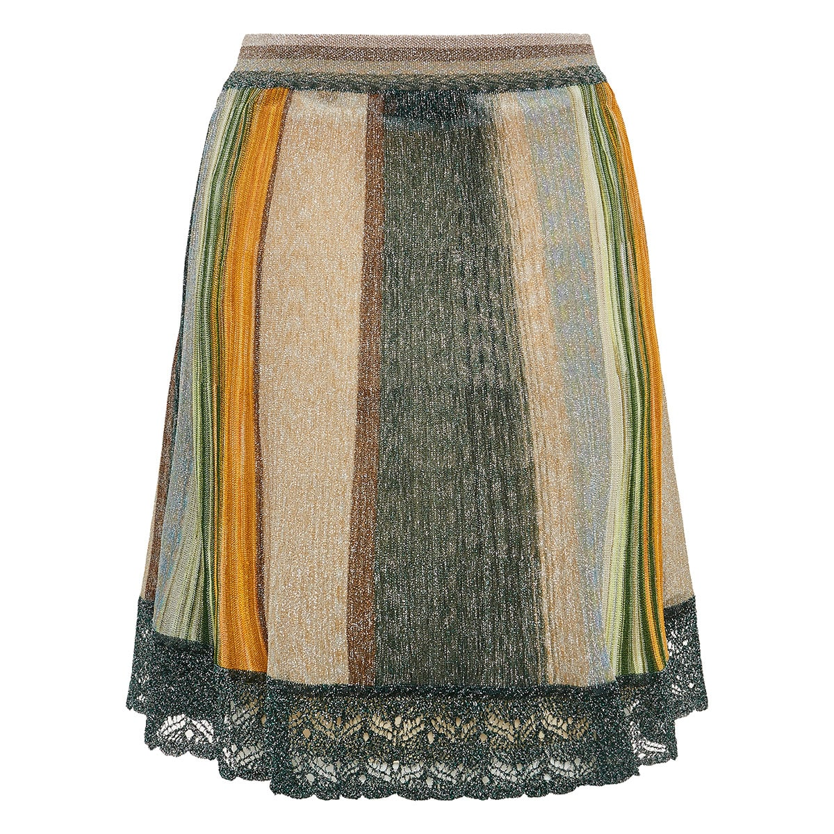 Striped lurex pleated mini skirt
