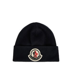 Logo-patch wool beanie