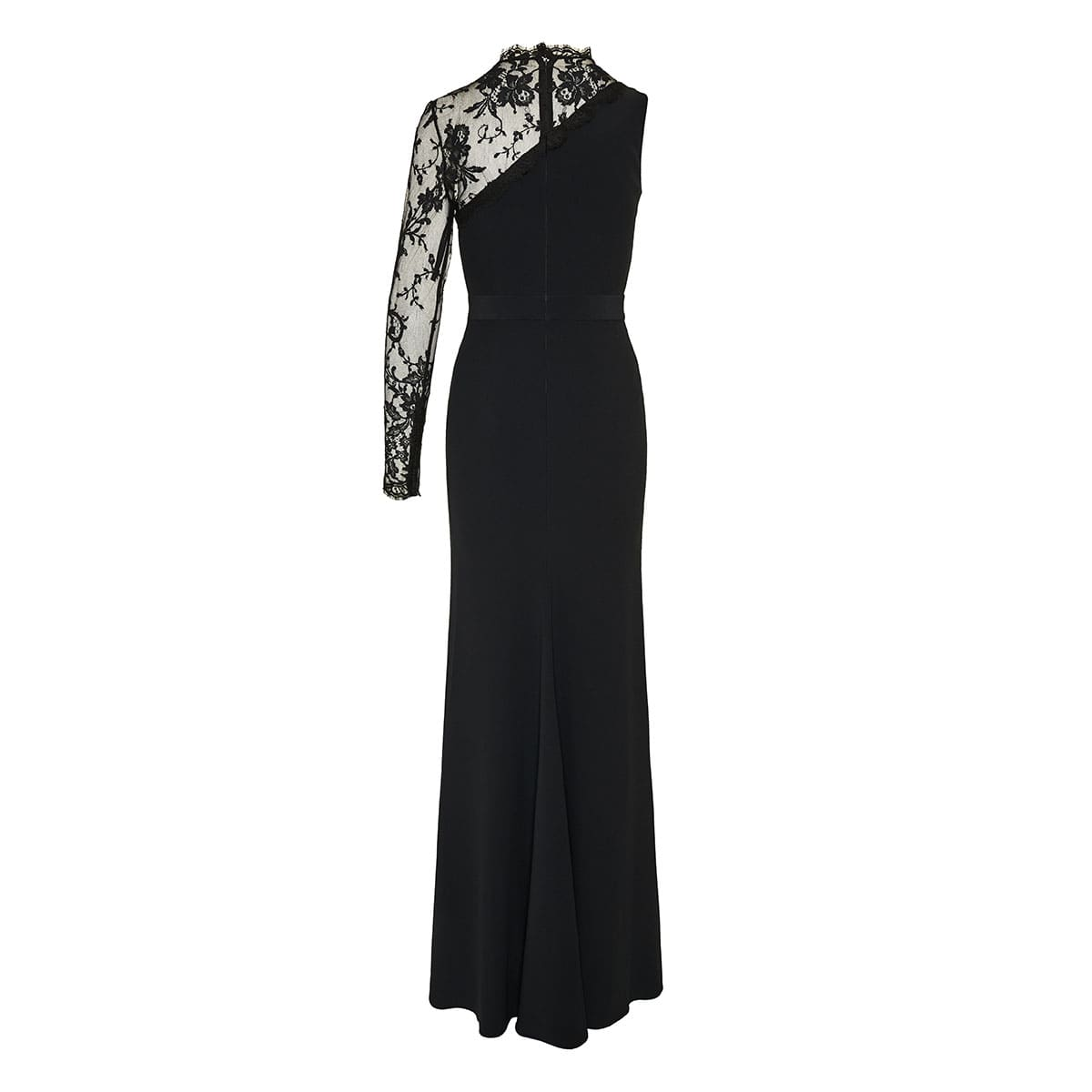 One-sleeve lace-paneled gown