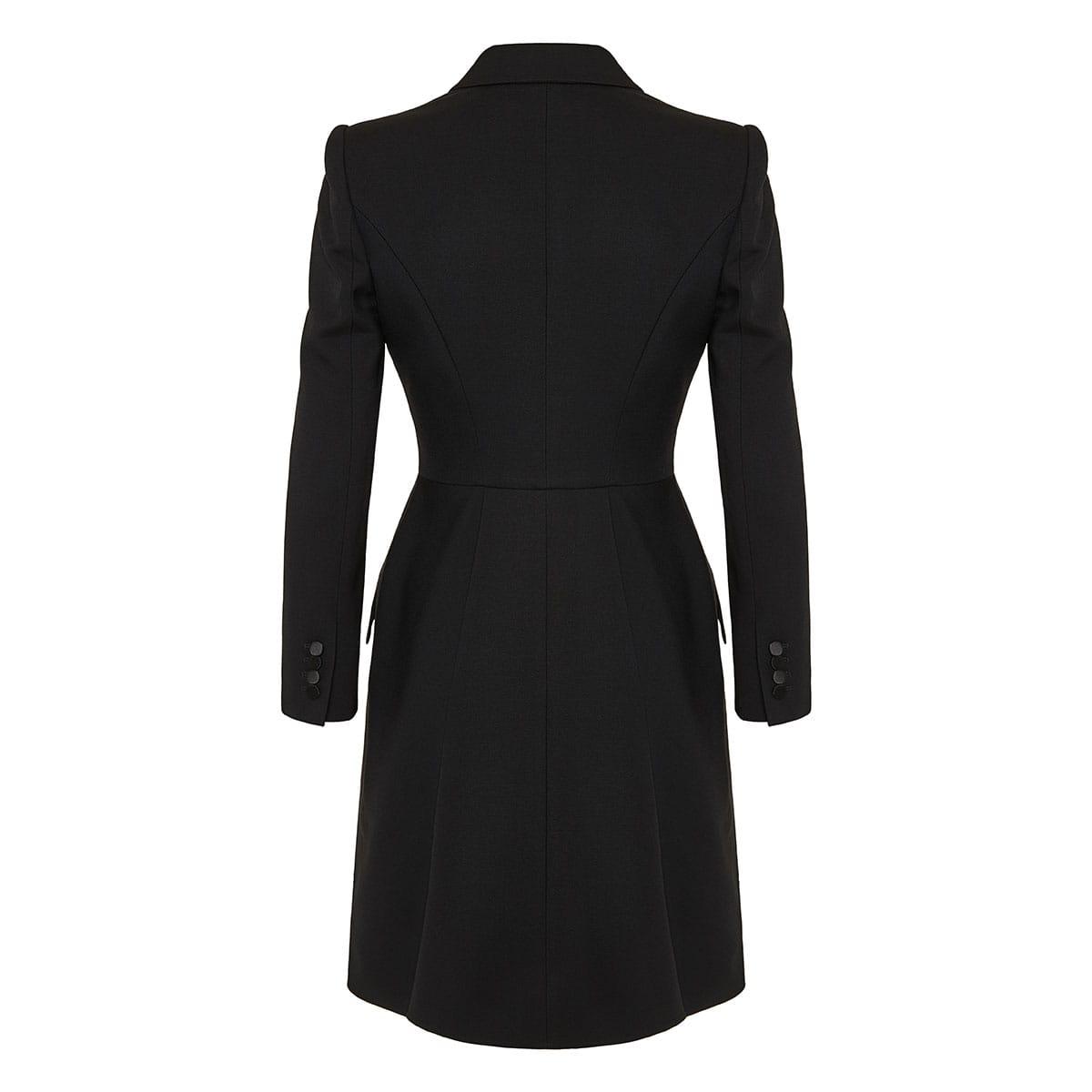 Satin-trimmed blazer dress