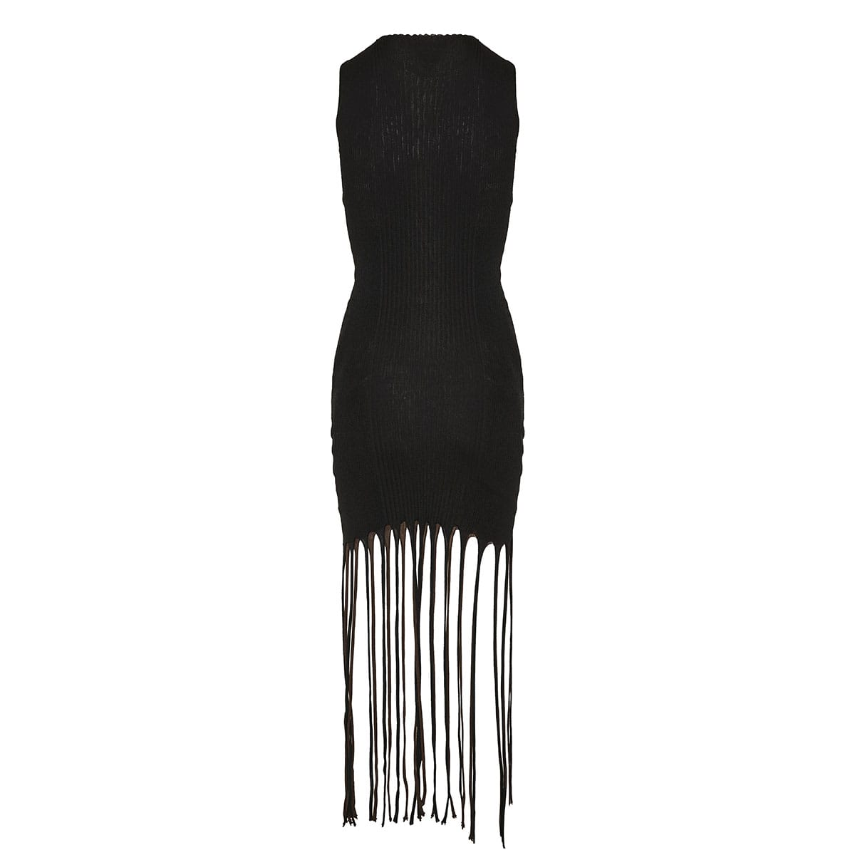Twisted knitted top with fringes