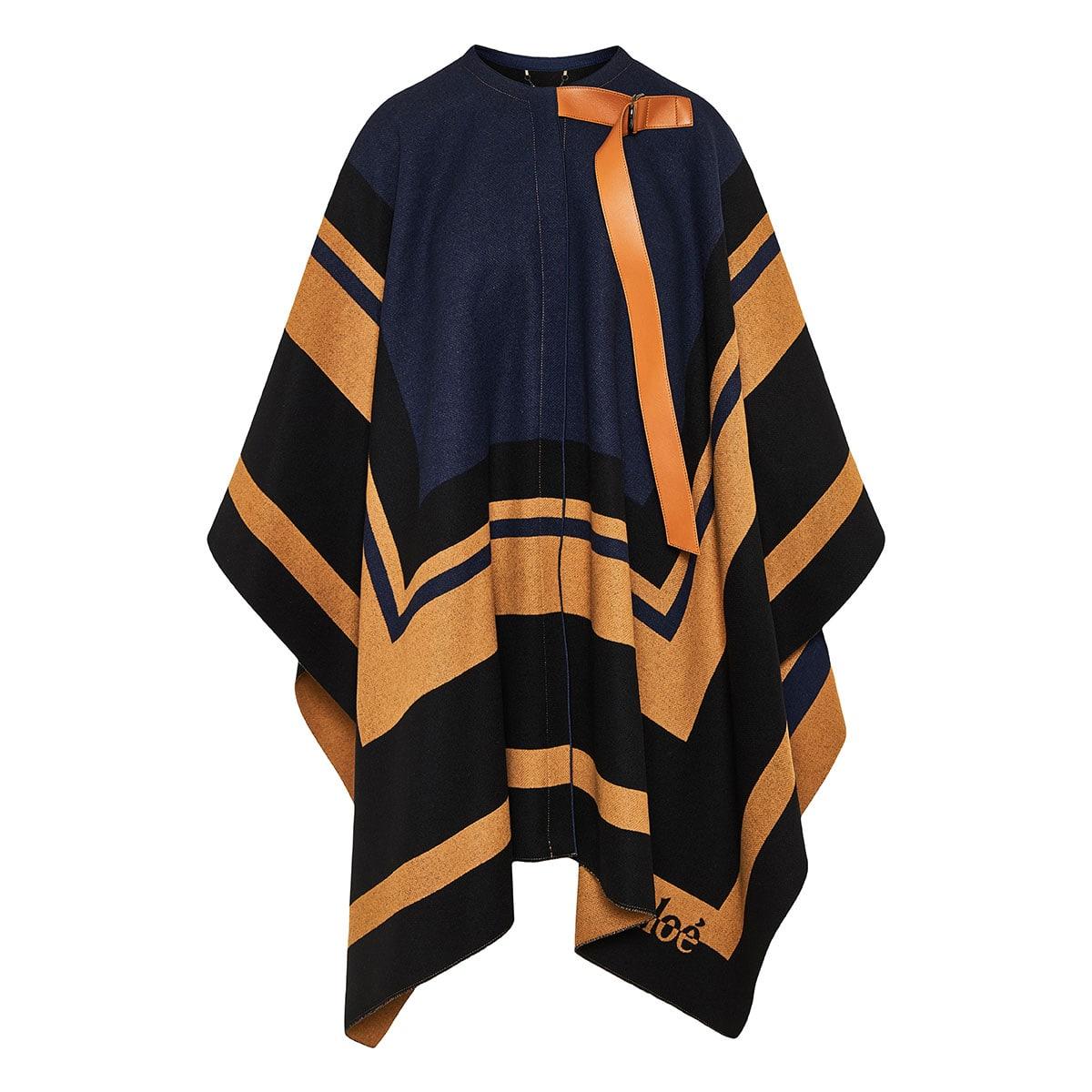 Graphic print wool cape