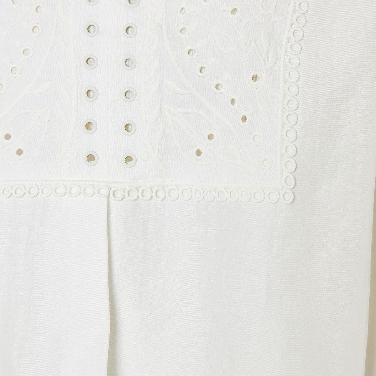 Embroidered linen kaftan dress