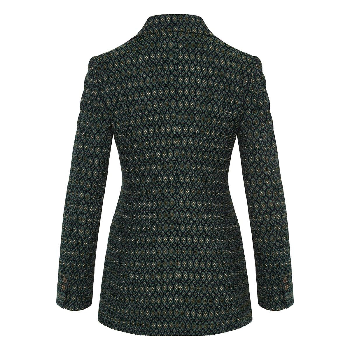 Geometric patterned jacquard blazer