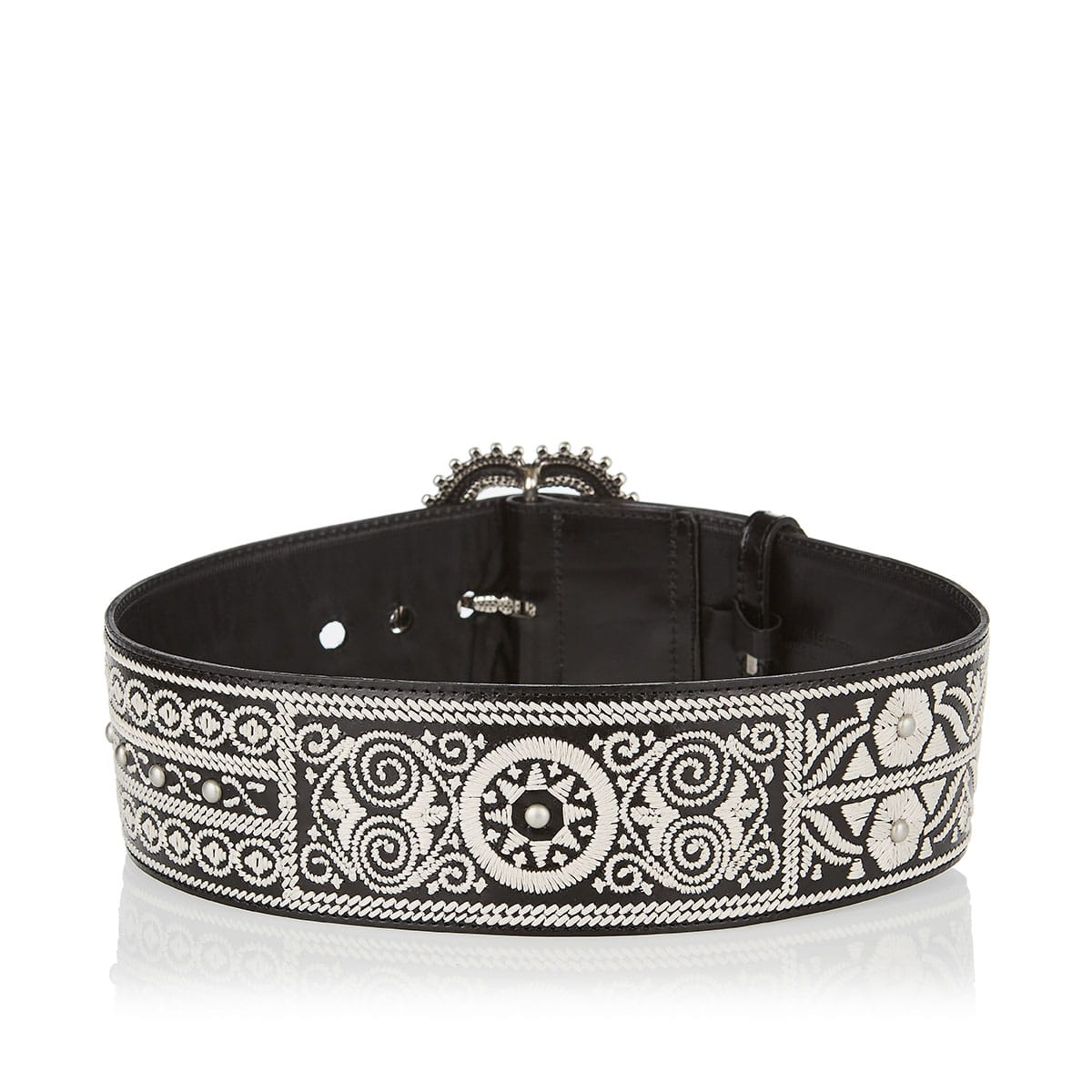 Embroidered wide leather belt