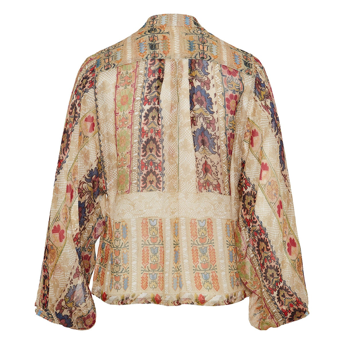 Lace-paneled floral blouse