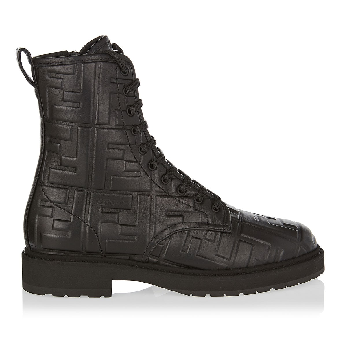 FF-embossed combat boots