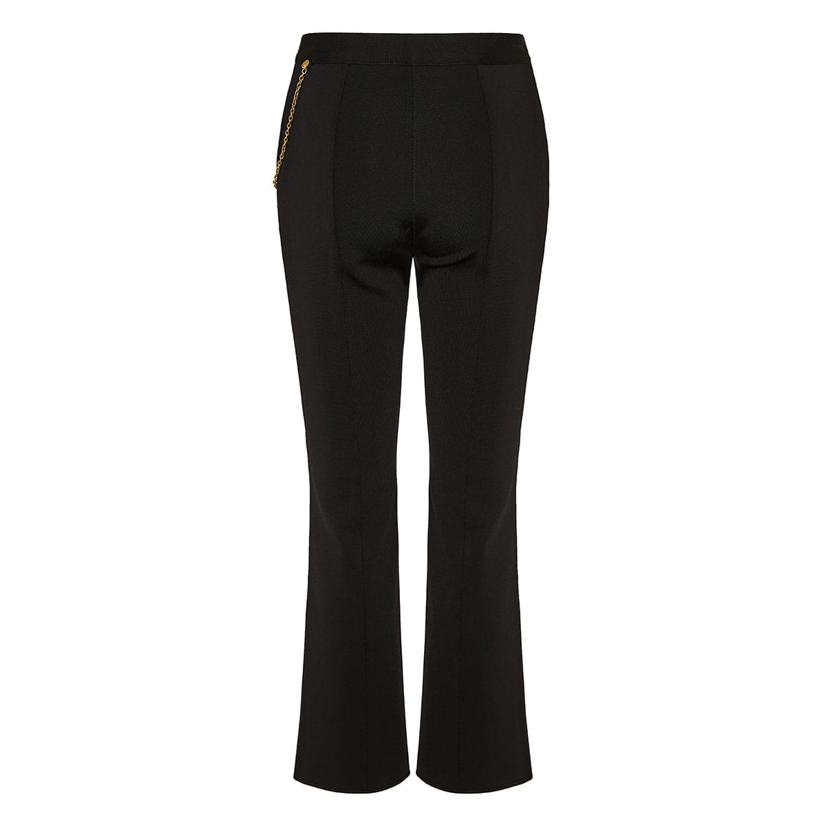 Chain-embellished cropped flared trousers