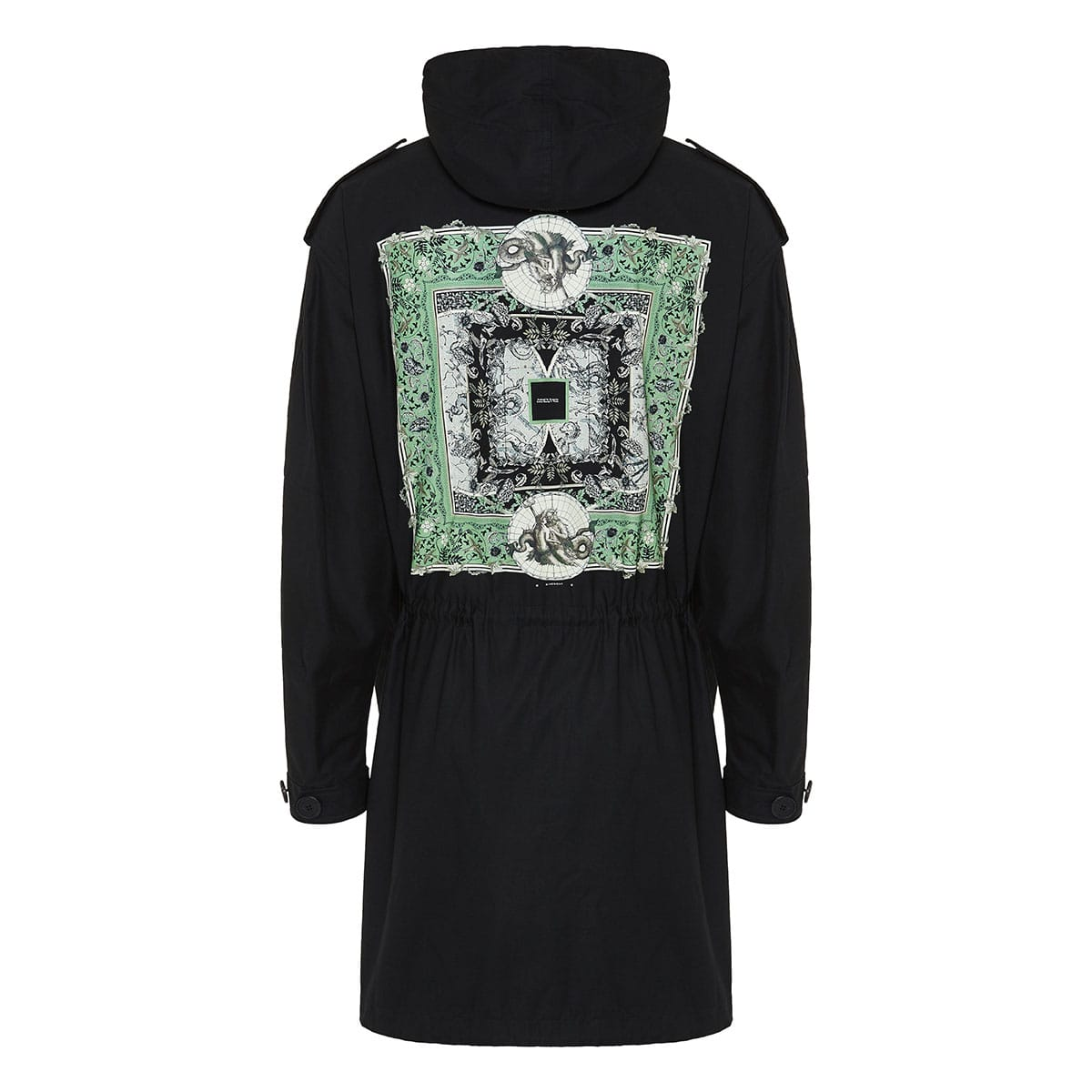 Atlantis print long parka jacket