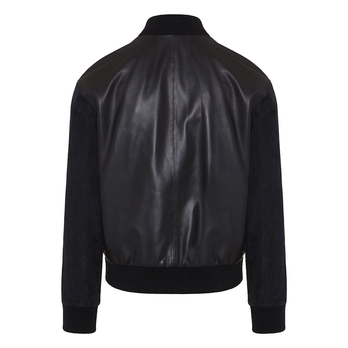 Leather and suede bomber jacket