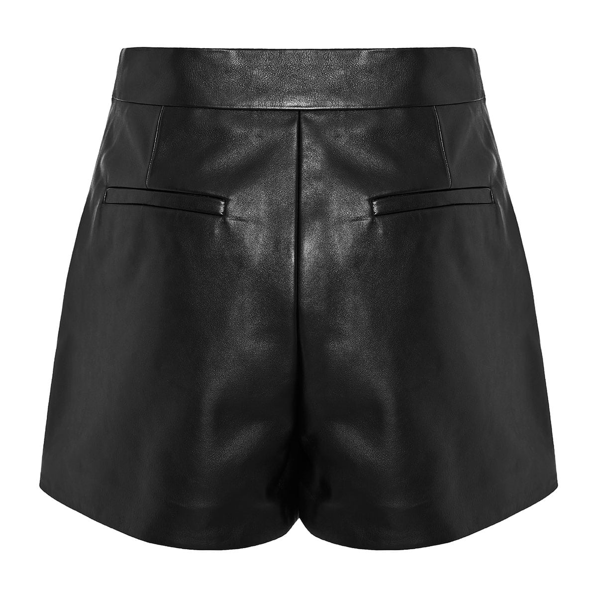 V-detailed leather shorts
