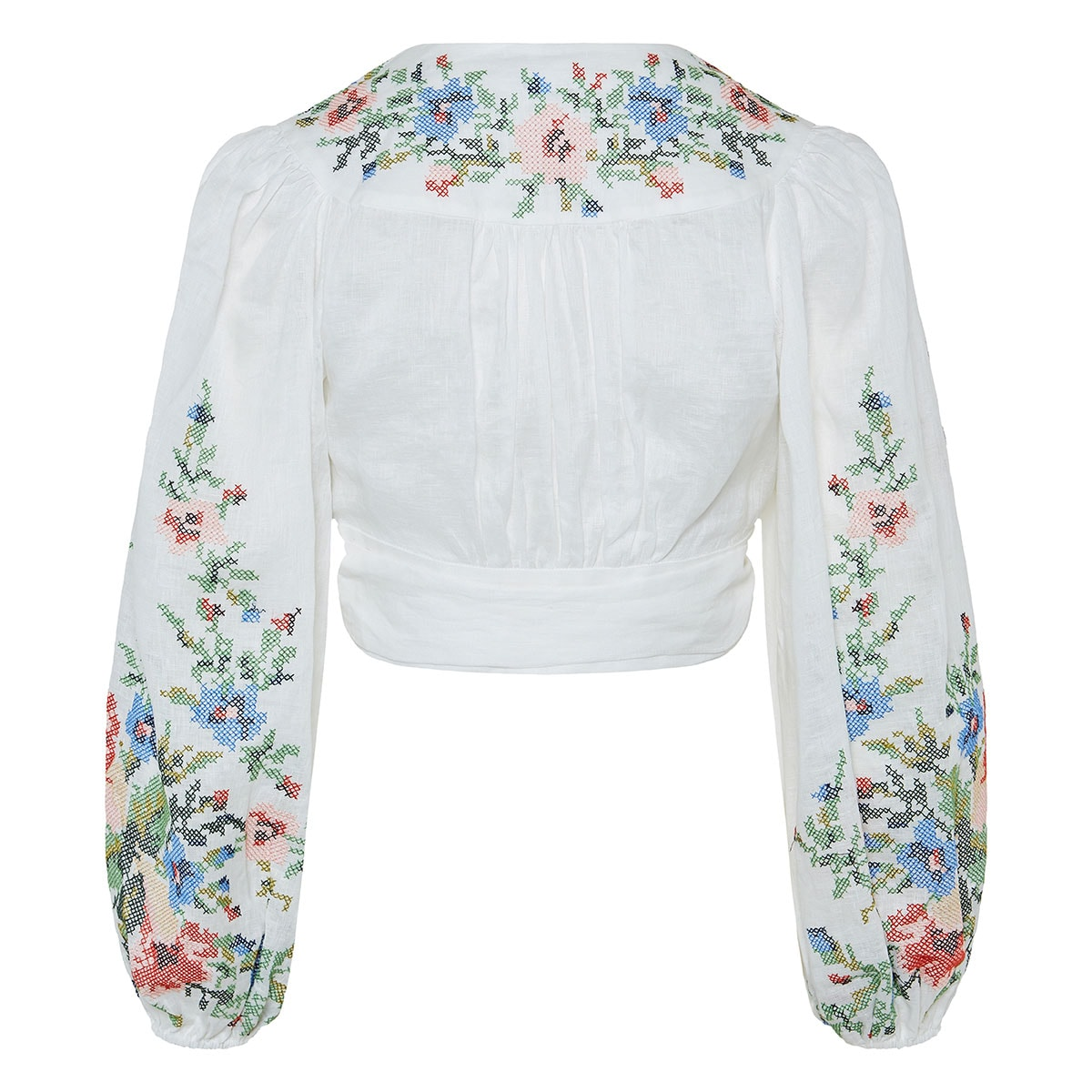 Juliette floral-embroidered cropped top