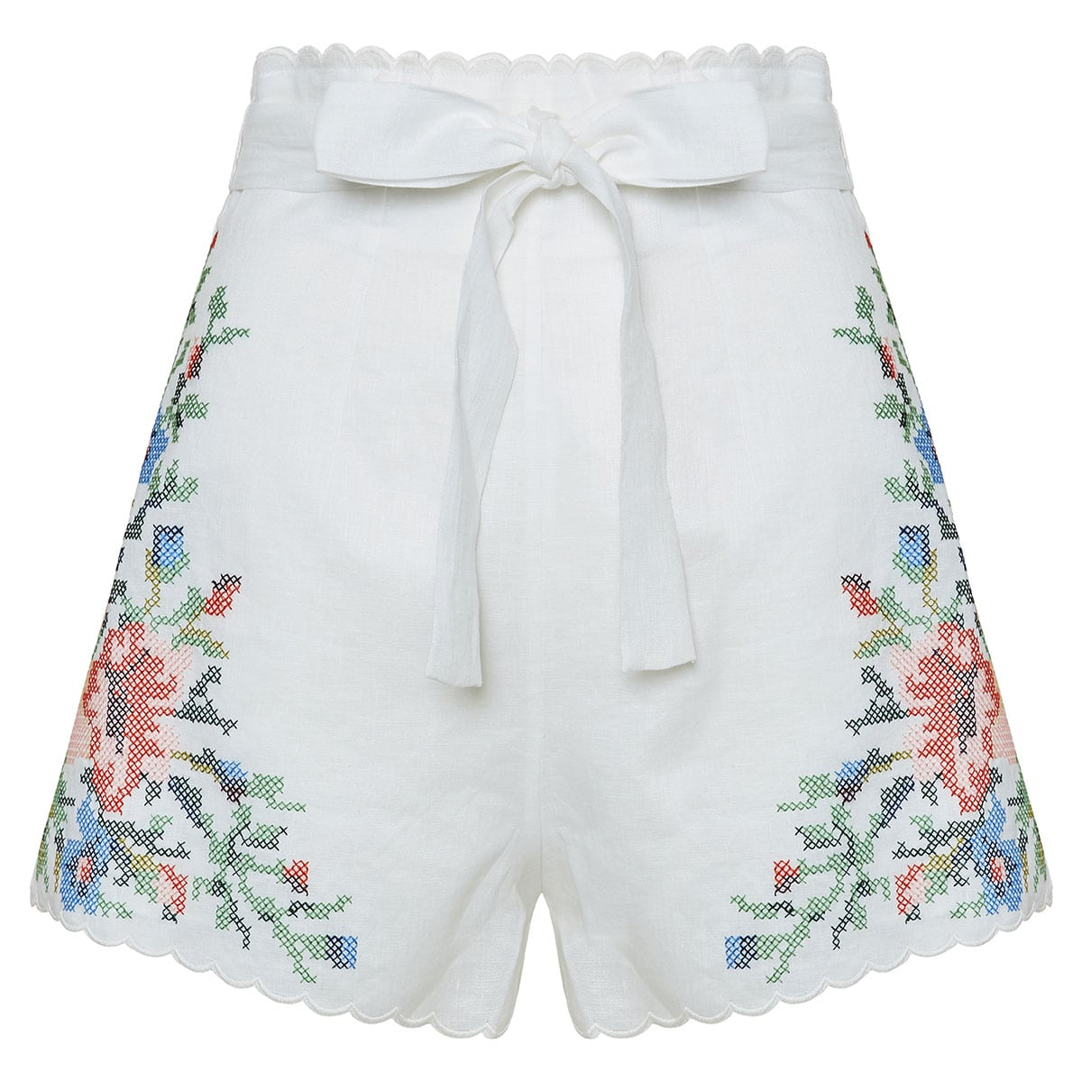Juliette floral-embroidered linen shorts