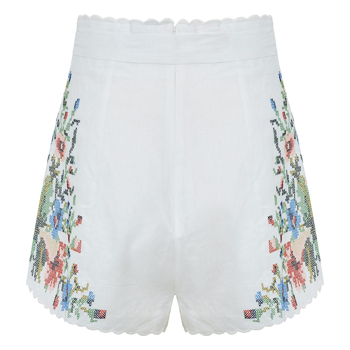 Juliette floral-embroidered linen shorts