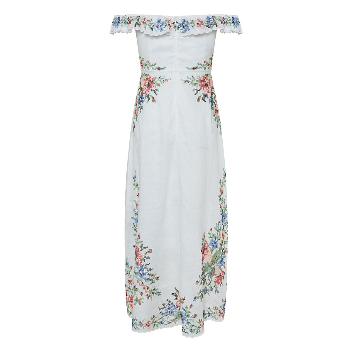 Juliette floral-embroidered off-the-shoulder midi dress