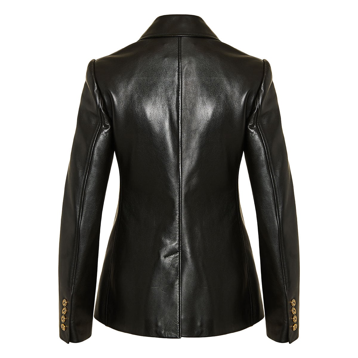 Leather single-breasted blazer
