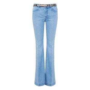 Bell-bottom jeans with logo belt
