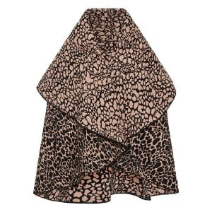 Panther jacquard wool cape