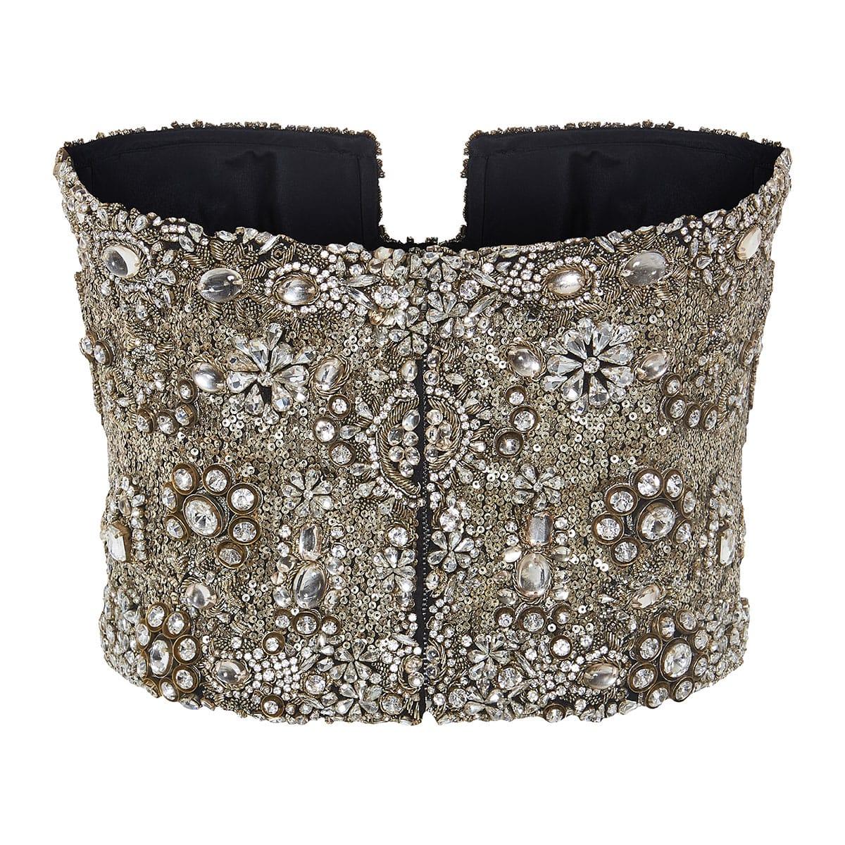 Crystal-embellished bustier top