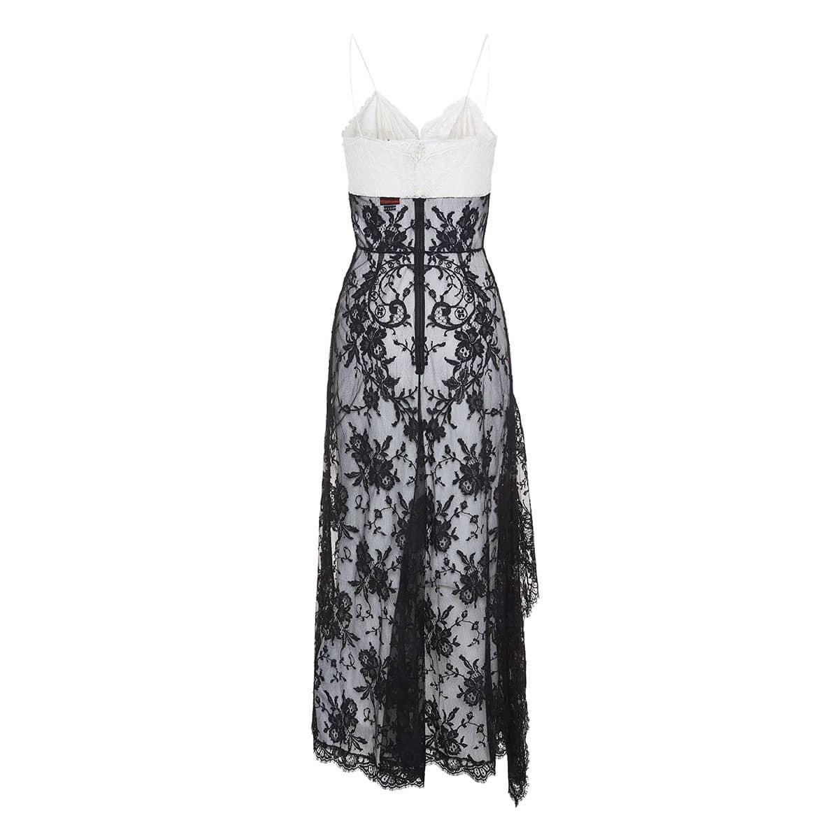Asymmetric draped lace dress