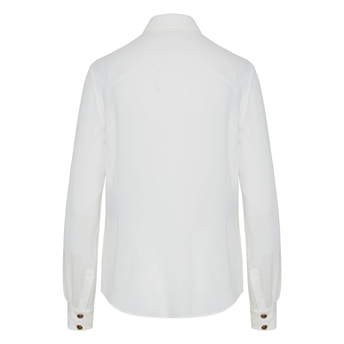 Button-embellished georgette shirt