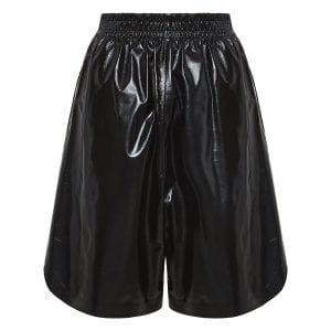 Wide-leg leather shorts