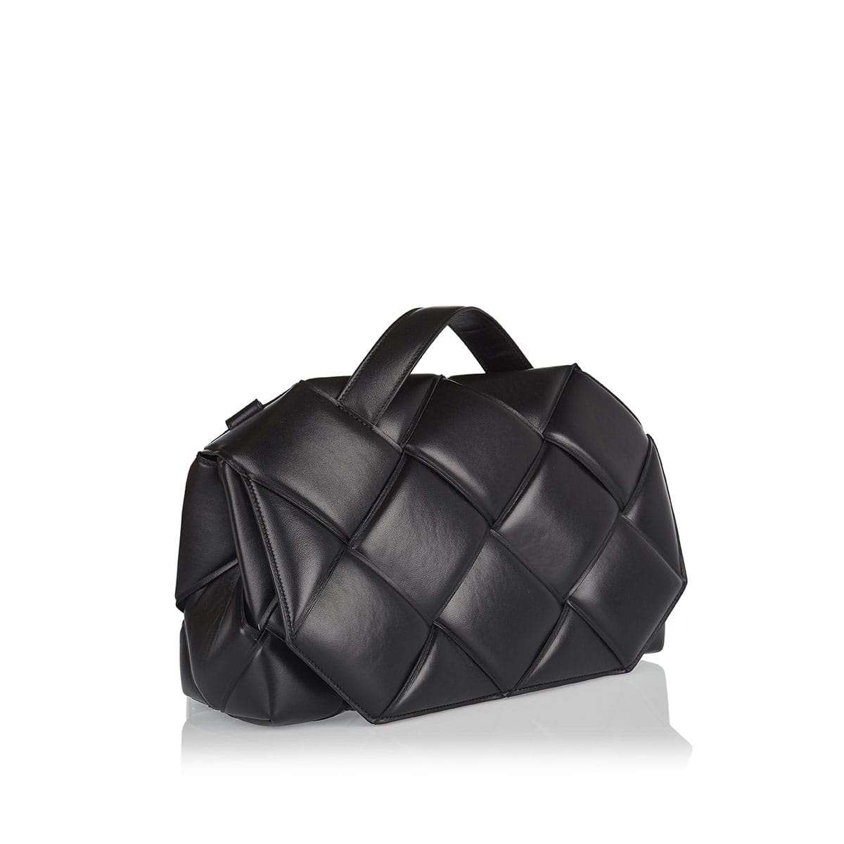 Top-handle padded woven bag