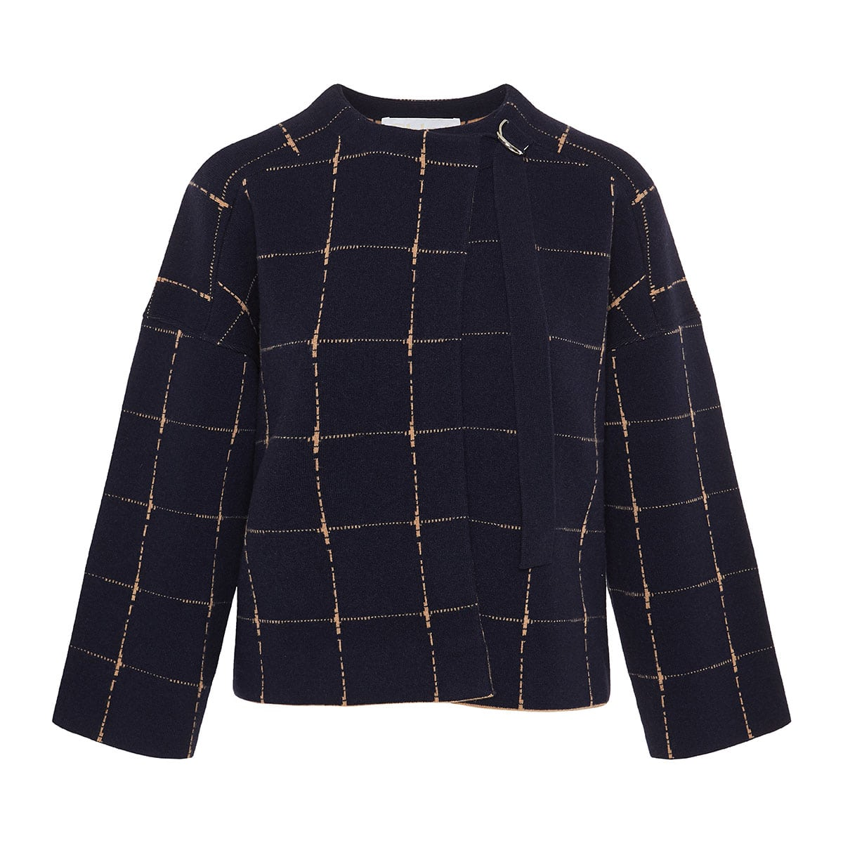 Checked cropped wool jacket