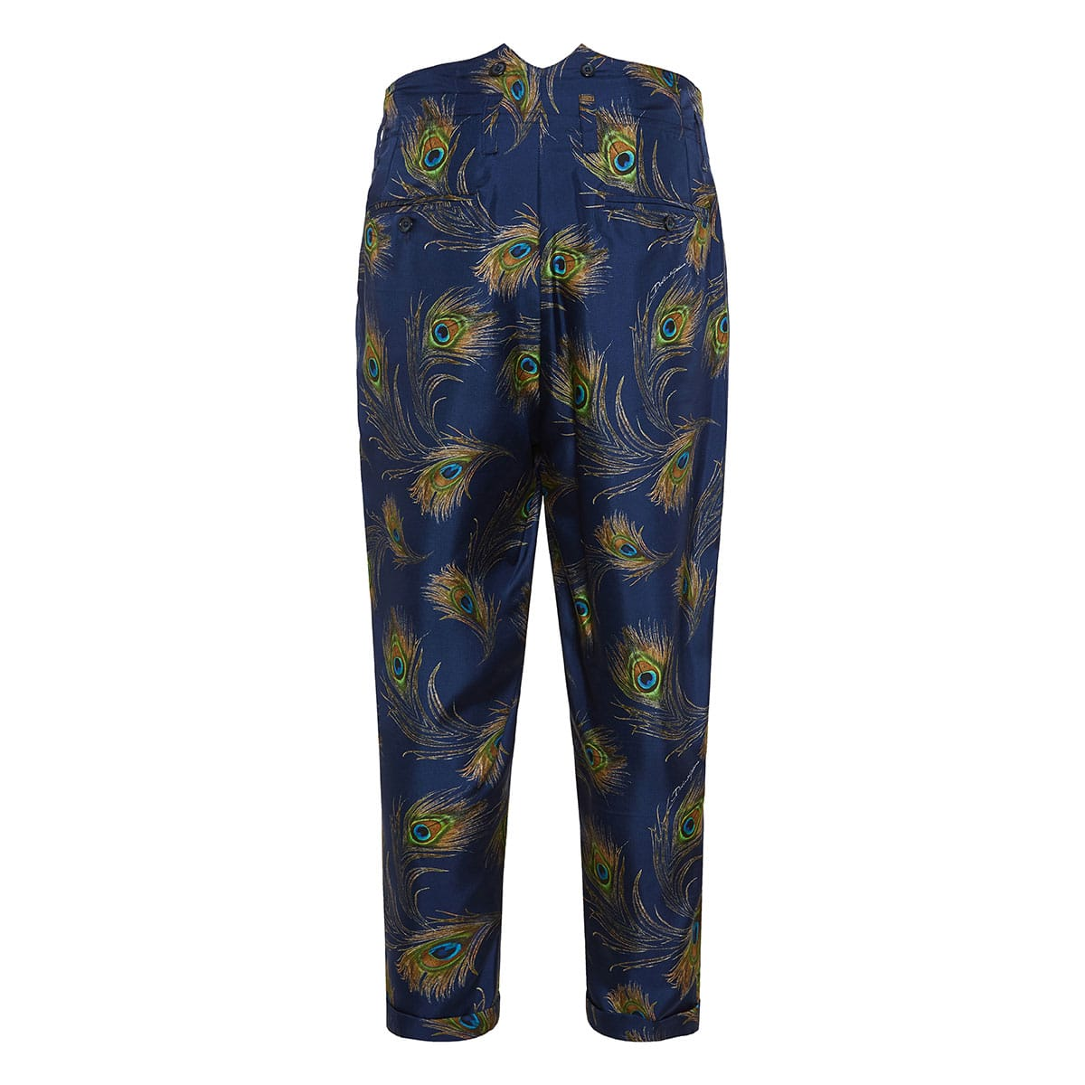 Peacock print darted cropped trousers