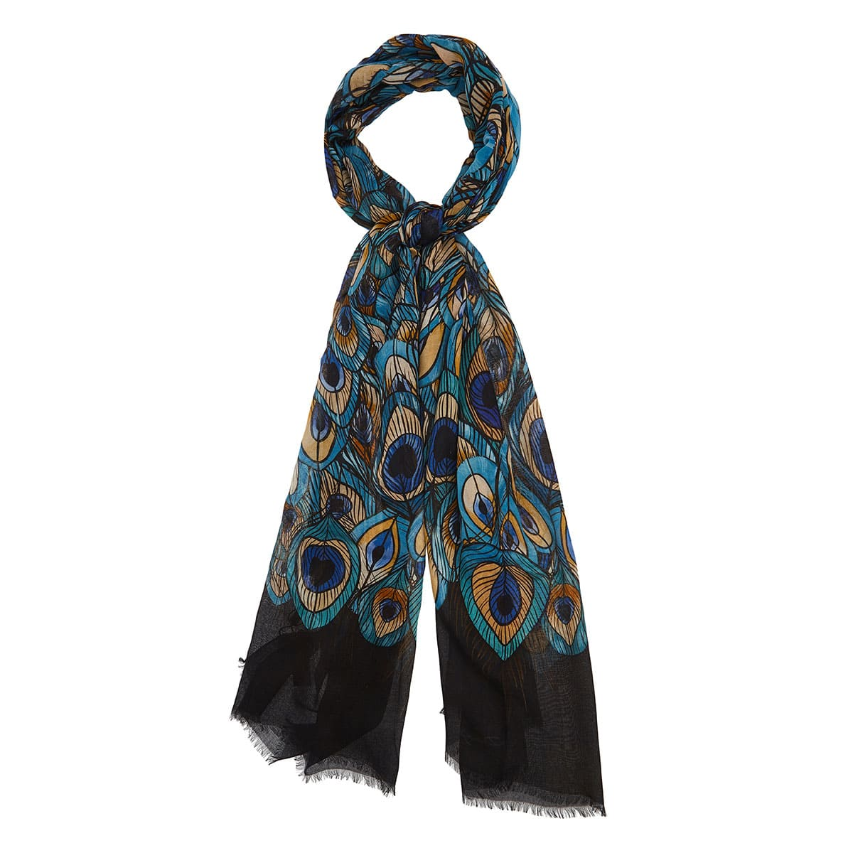 Feather printed modal scarf