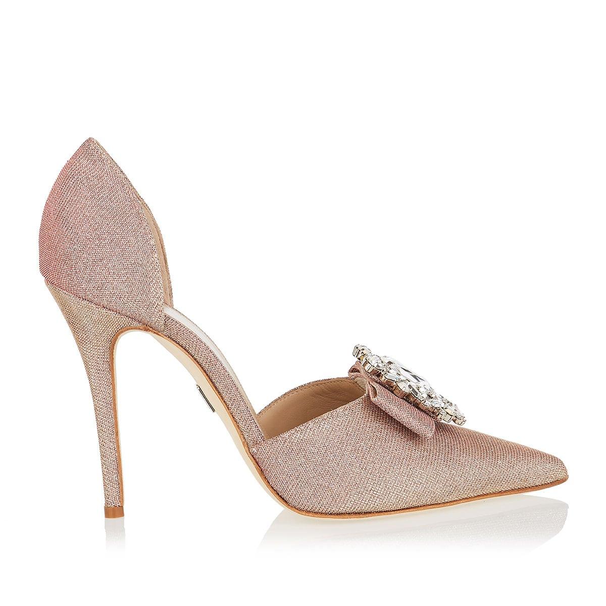 Ursula jeweled-buckle glitter pumps