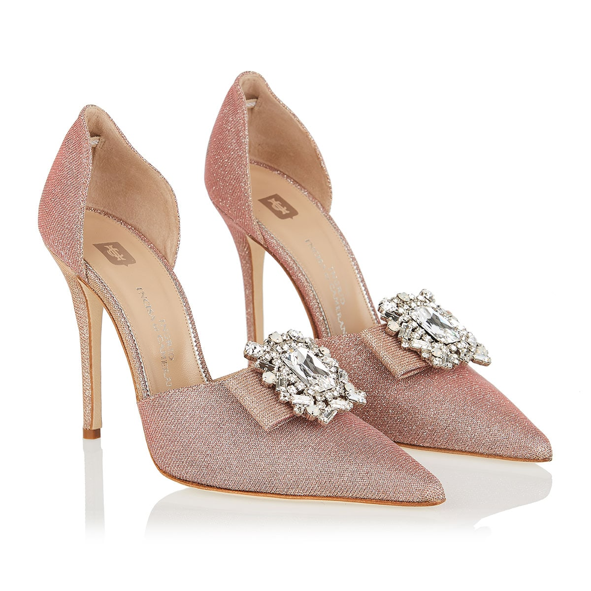 Ursula jeweled-buckle glitter pumps