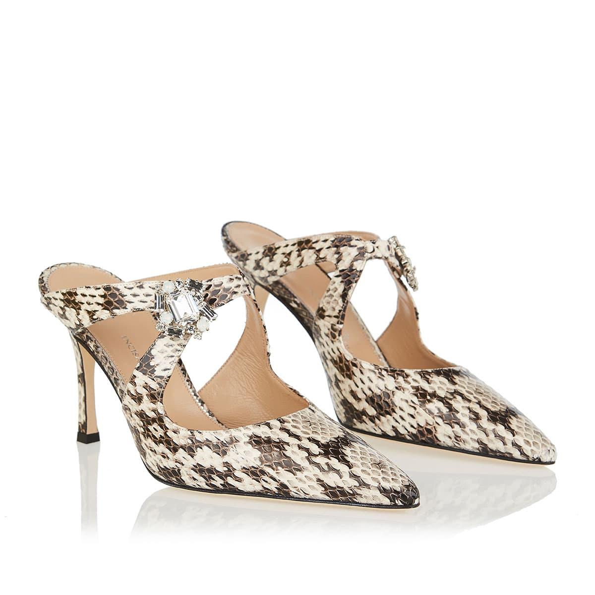 Daniela embellished snake-leather mules