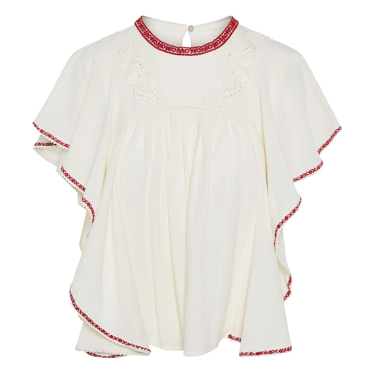 Embroidered ruffled cotton top