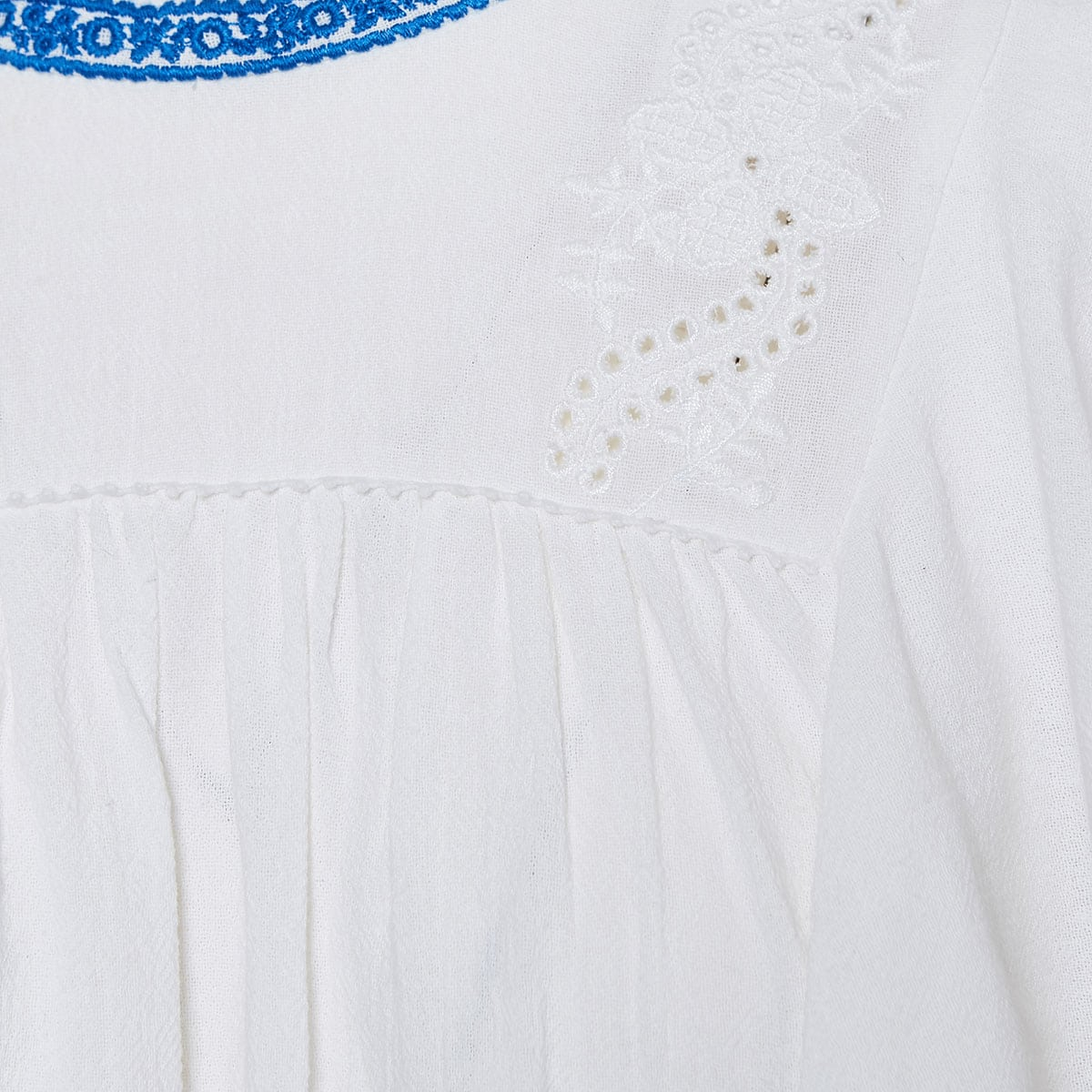Embroidered ruffled cotton dress