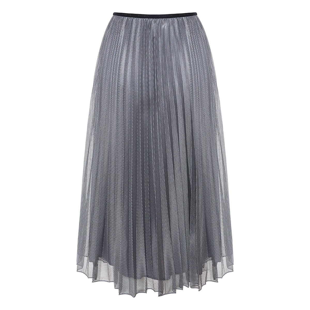 Metallic mesh pleated midi skirt