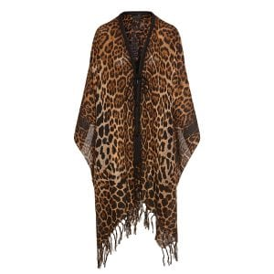 Leopard fringed cape
