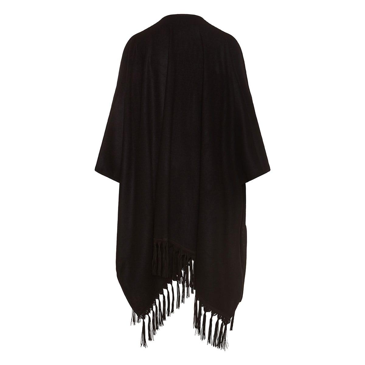 Fringed cashmere cape