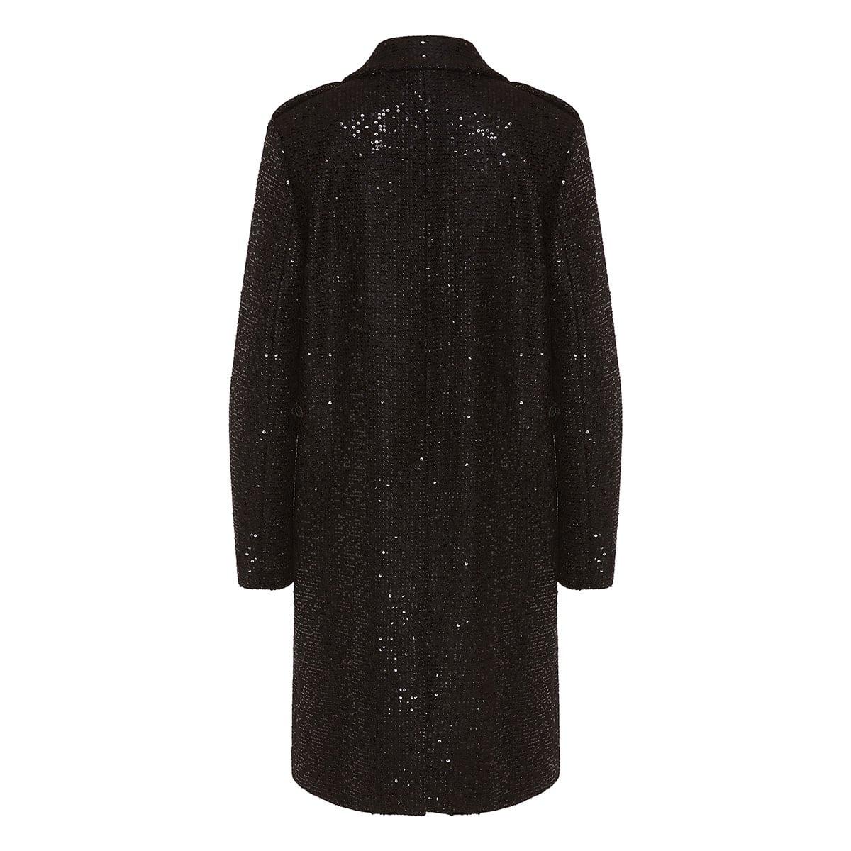 Sequin tweed coat