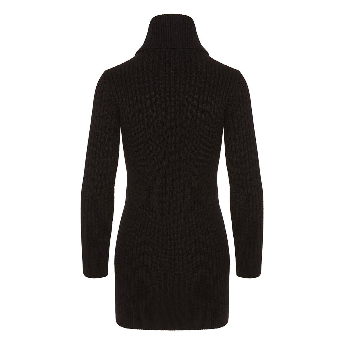 Turtleneck ribbed-knit mini dress