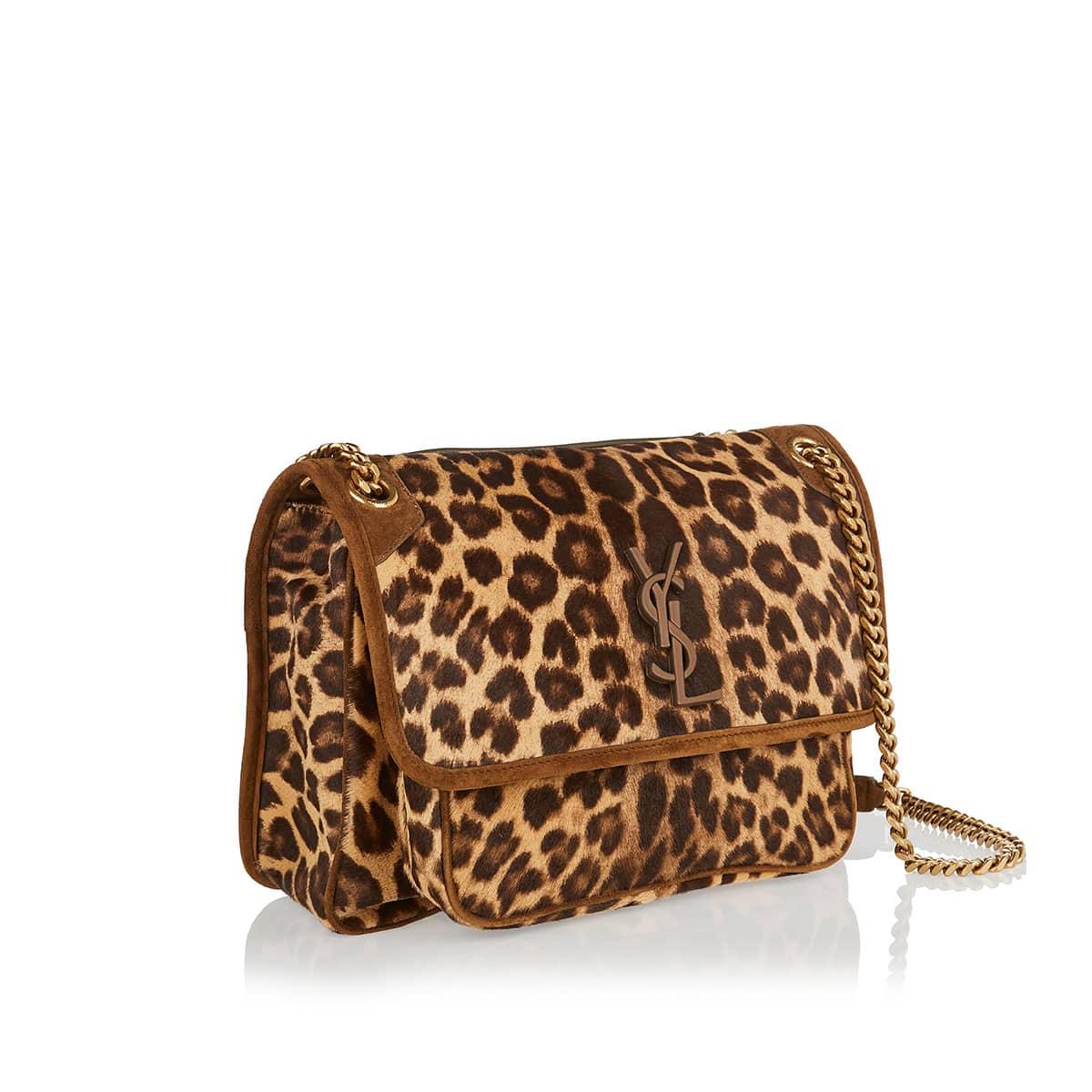 Niki medium leopard pony-effect bag