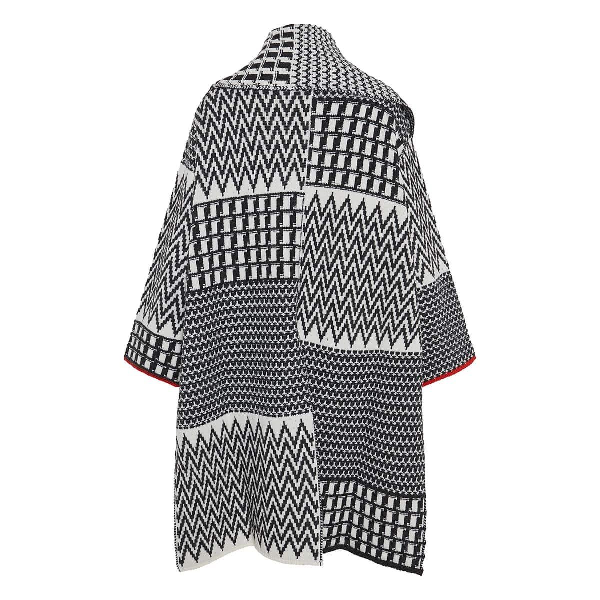 Oversized patchwork cape cardigan