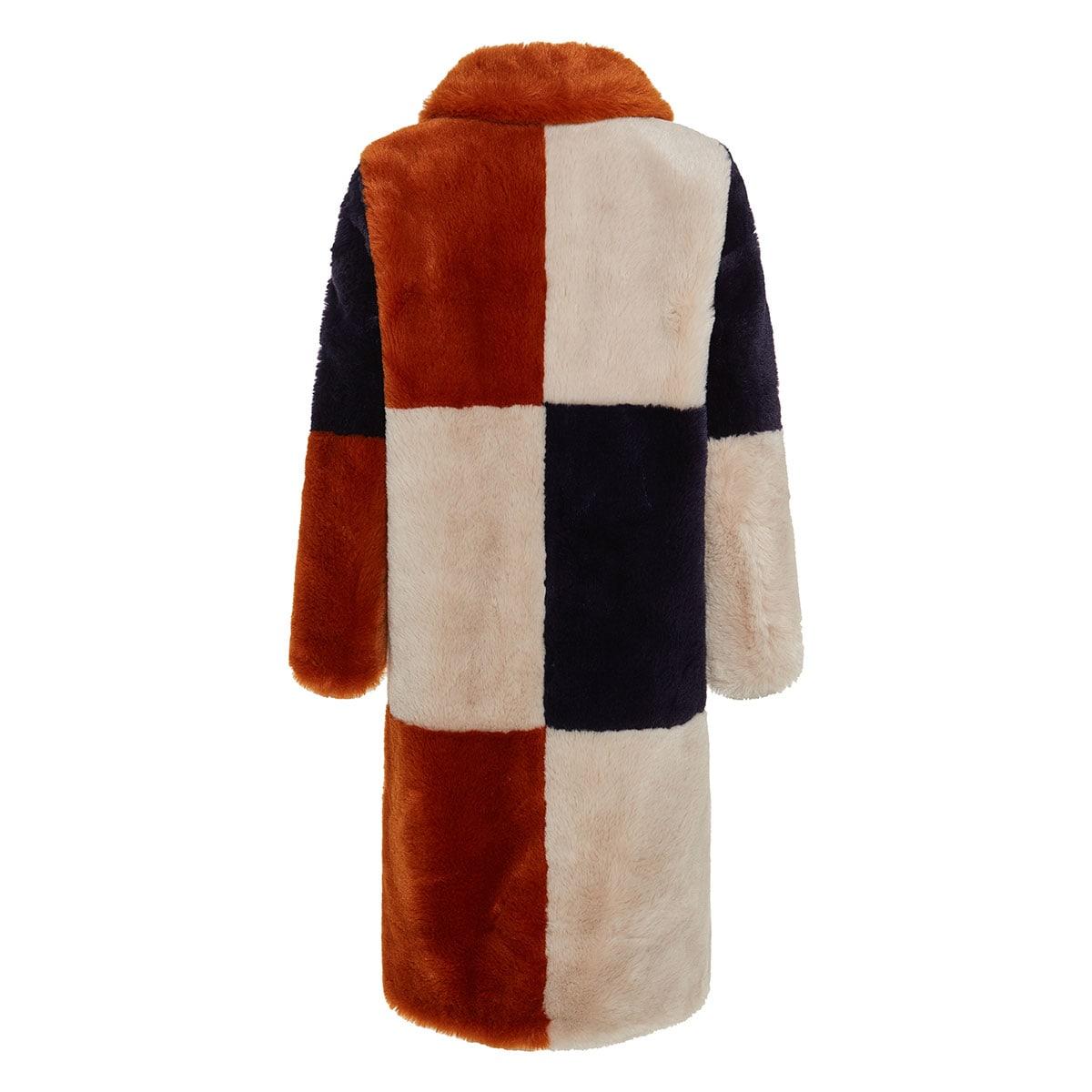 Adalyn faux fur patchwork coat