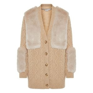 Faux fur paneled cardigan