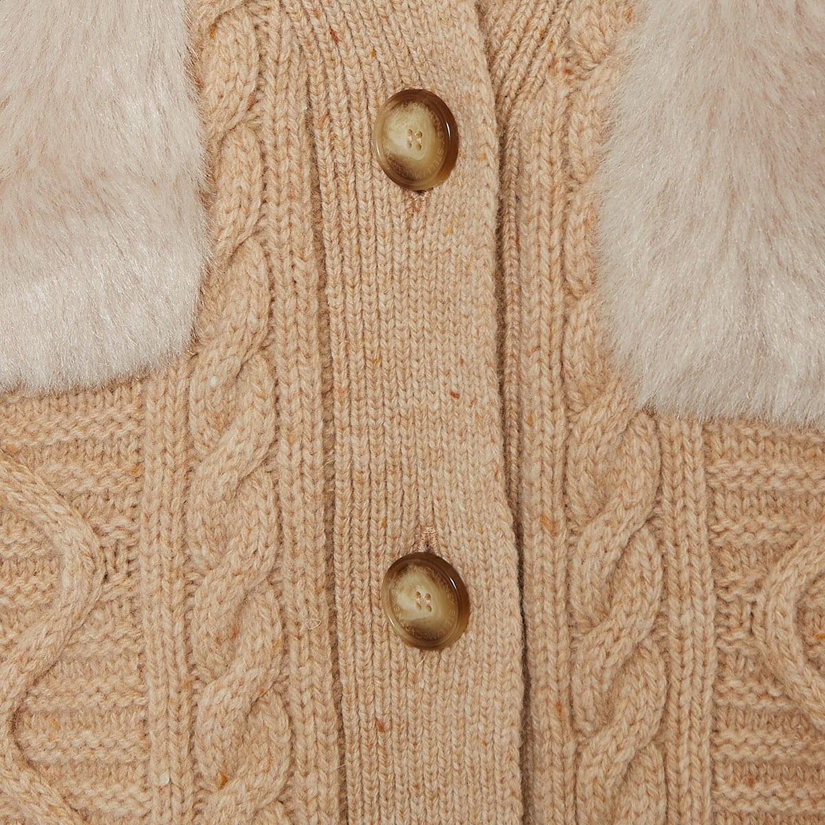 Faux fur paneled cardigan